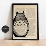 Totoro Hand Drawn Watercolor Vintage Upcycled Book Page Print/ Studio Ghibli Fan Art Inspired Unframed Custom Wall Art | Ambercurio