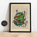 Howls Moving Castle Studio Ghibli Film Upcycled Book Page Print/ Howls Castle Animated Film Inspired Painting Unframed | Ambercurio