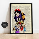 Kiki's Delivery Service High Flying Vintage Upcycled Book Page Print/ Studio Ghibli Inspired Watercolor Painting Art Unframed | Ambercurio
