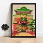 Spirited Away Bath House, Studio Ghibli Poster, Watercolor Artwork, Anime Film Poster, Book Page Print, Spirited Away Fan, Unframed Artwork