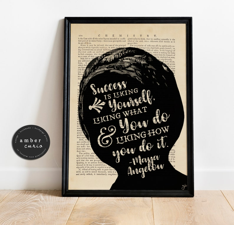 Maya Angelou Quote Print  Wall Décor  Book Page Print  image 0