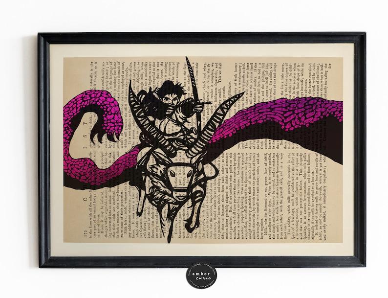 Princess Mononoke Poster Book Page Art Repurposed Book image 0