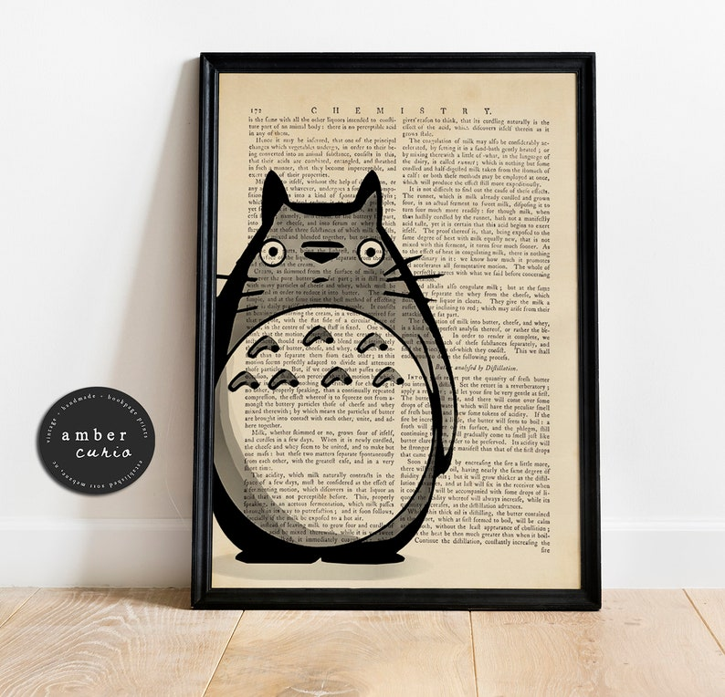 Totoro Hand Drawn Watercolor Vintage Upcycled Book Page Print/ image 0