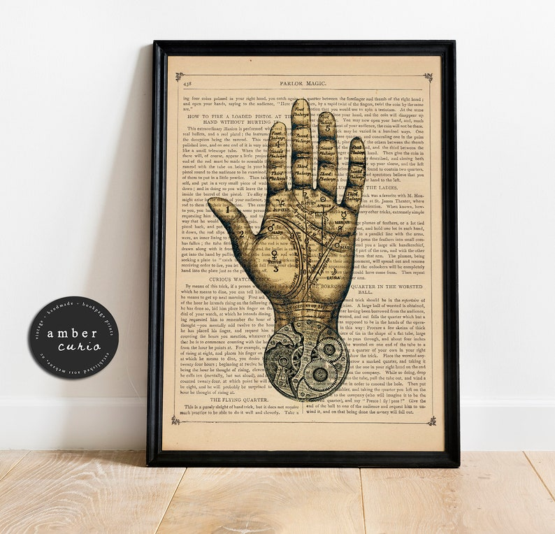 Palm Reading Fortune Teller Inspired Vintage Upcycled Book image 0