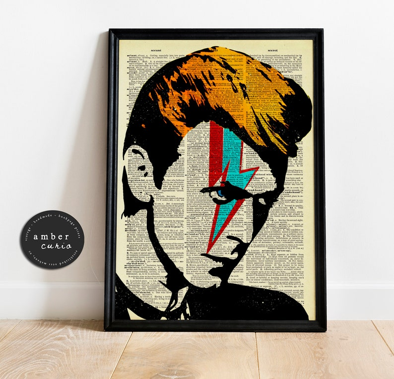 David Bowie Print  Apartment Decor  Antique Page Print  image 0