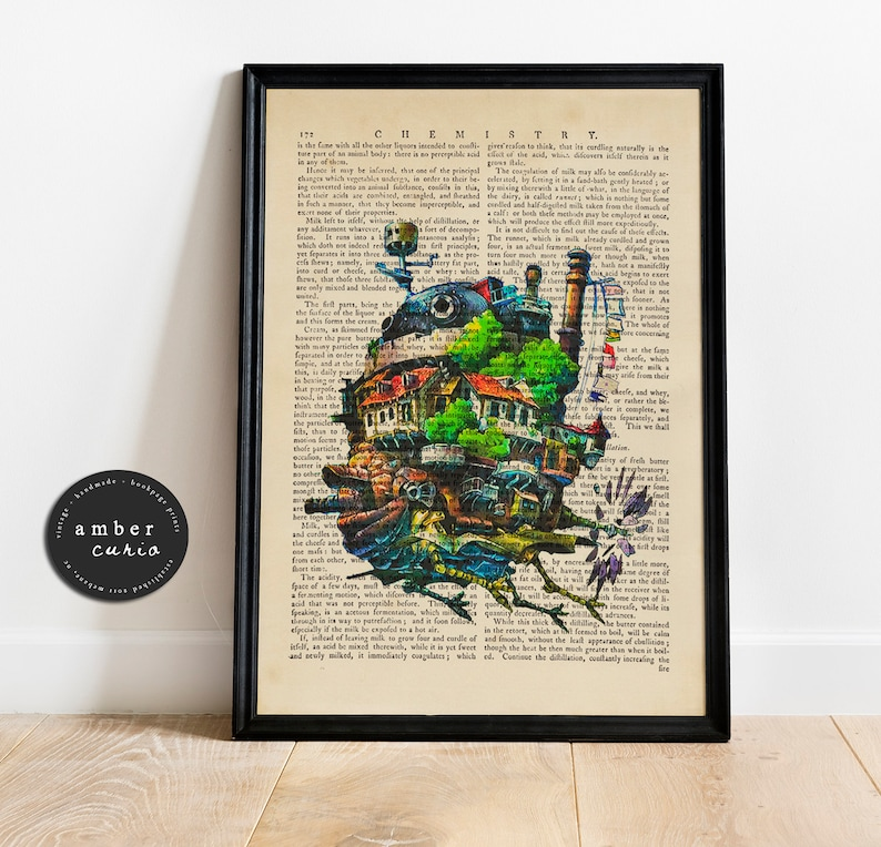 Howls Moving Castle Studio Ghibli Film Upcycled Book Page image 0