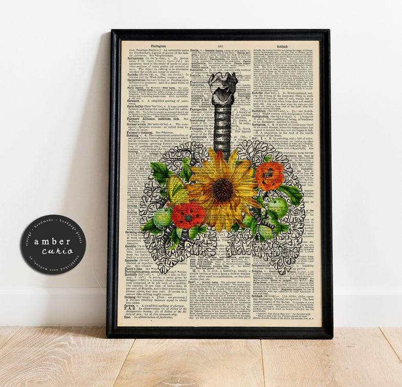 Sunflower Heart Lungs Anatomy Print  Antique Medical Art  Dictionary 8x10