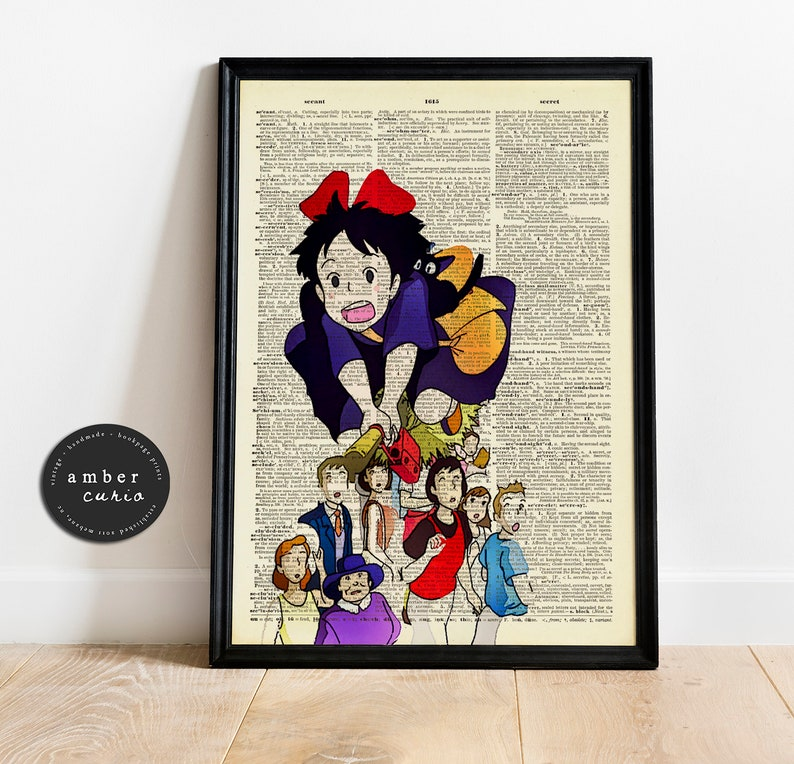 Kikis Delivery Service High Flying Vintage Upcycled Book Page image 0