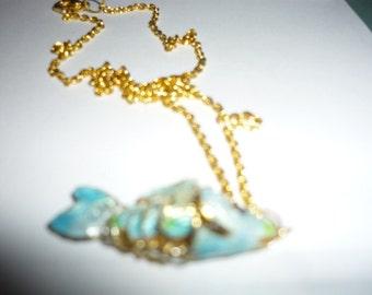 Fish Necklace Blue Tones