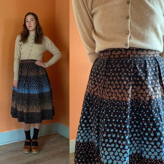 1950s handmade full skirt w/ ombre polka dots