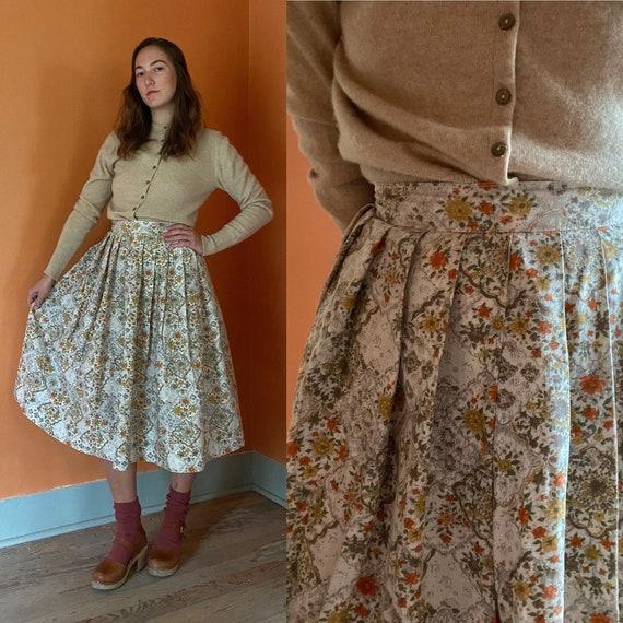 1950s handmade fall floral full skirt w/ pleats