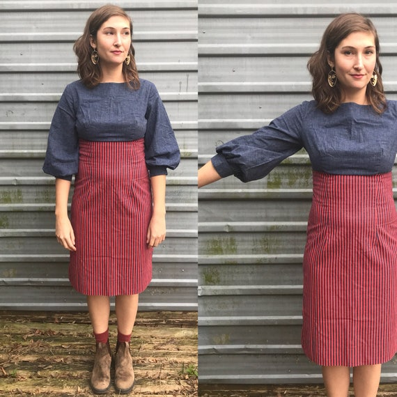 1960s denim & canvas pencil dress w/ bishop sleeve