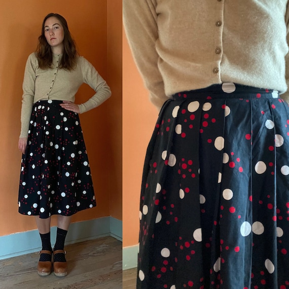 1950s handmade black full skirt with red & white p