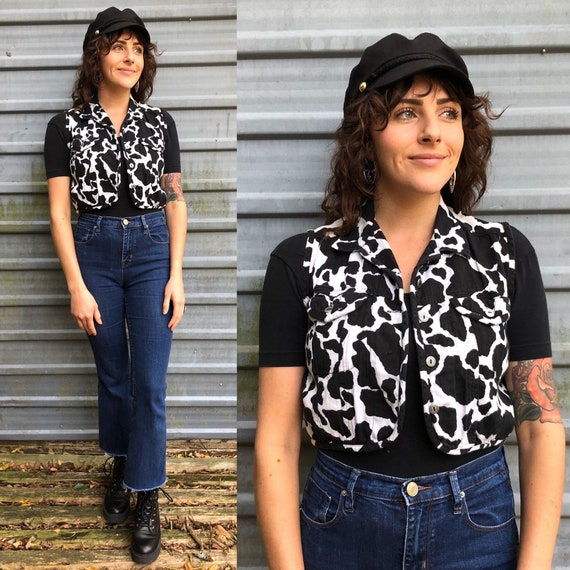 80s-90s cow print cropped Western vest