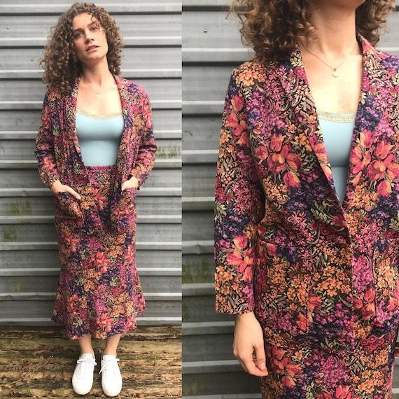 80s/90s handmade autumn floral skirt suit