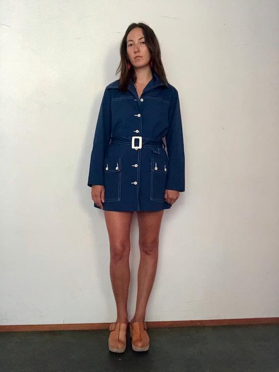 1960s indigo mini trench - image 5