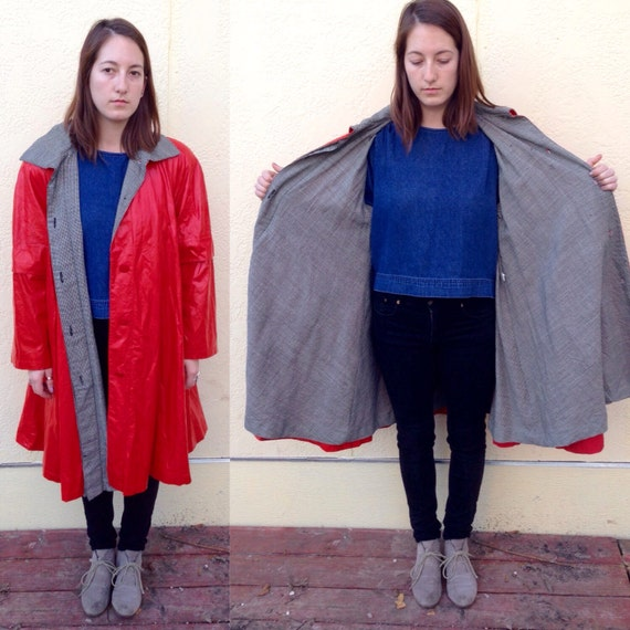 1960s red faux leather baggy trench coat w/ black
