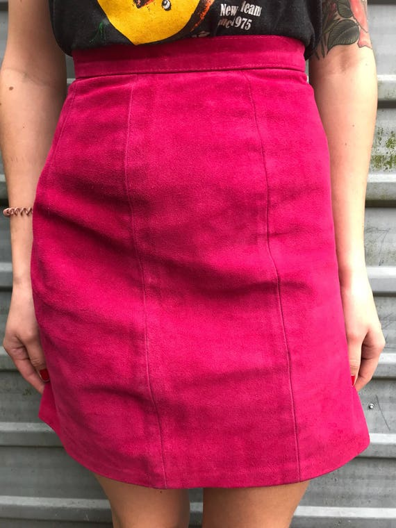 80s hot pink suede mini pencil skirt - image 4