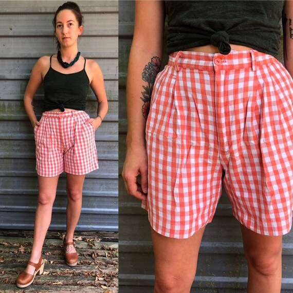 1990s coral & white checkered high-waisted trouser