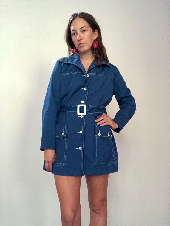 1960s indigo mini trench - image 7