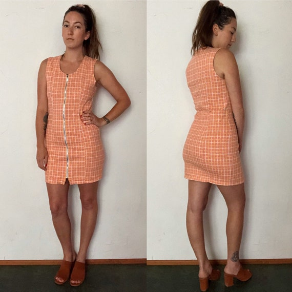 90s does 60s MOD zipper front plaid mini dress