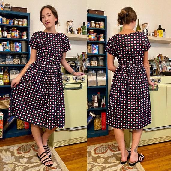 1950s polka dot day dress by Mode O' Day