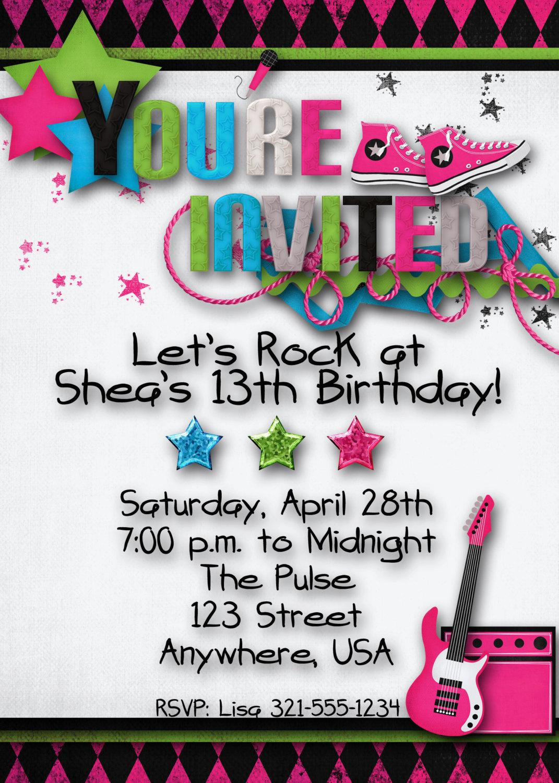 Rock Star Birthday Party Invitation Girl Teen | Etsy