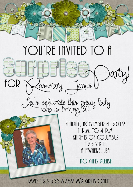 80th birthday Suprise Birthday Party Invitation Flowers