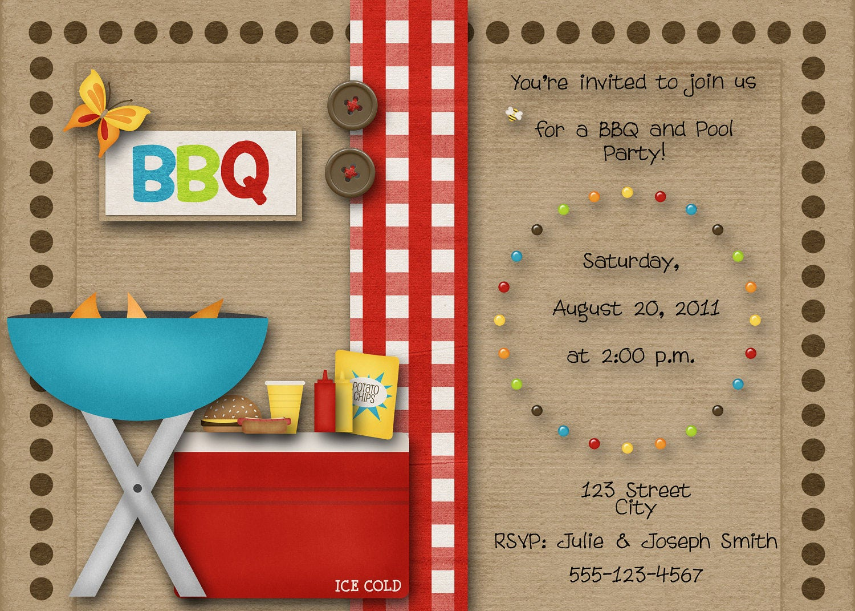 BBQ Pool Party Invitation   Etsy