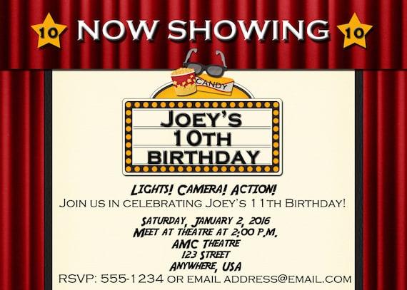 Movie Theatre Birthday Party Invitation Etsy