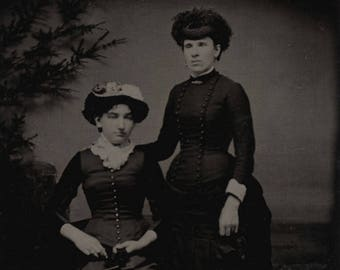 1/6 Plate Tintype Portrait of Two Very Fashionable Women, Maybe Sisters, in Fancy Dresses and Tight Corsets