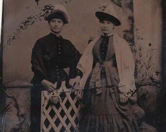 1/6 Plate Tintype Portrait of Two Fashionable Women, Maybe Sisters, in Fancy Dresses in a Faux Yard Scene