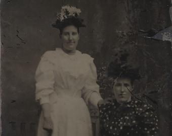 1/6 Plate Tintype Studio Portrait of Two Women Wearing Fancy Hats and Dress
