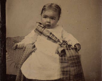 1/6 Plate Tintype of a Little Girl (or Boy!) in White with a Plaid Shoulder Bag