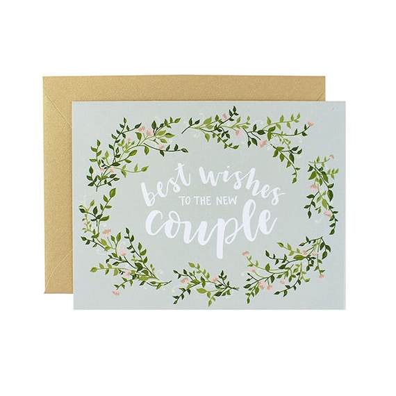 Best Wishes To The New Couple Floral Wreath Wedding Card