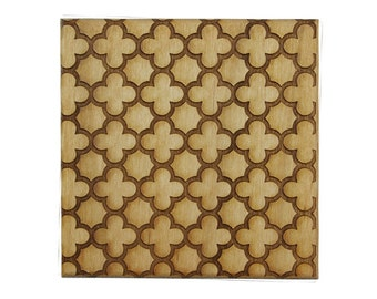 Laser Engraved Wood Coasters - Quatrefoil Style