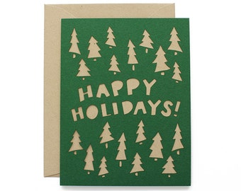 Christmas Card - Happy Holidays Laser Cut Indie Christmas Card