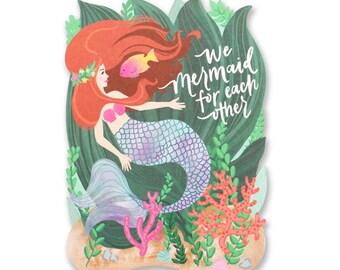 We Mermaid For Each Other Love Die Cut Card
