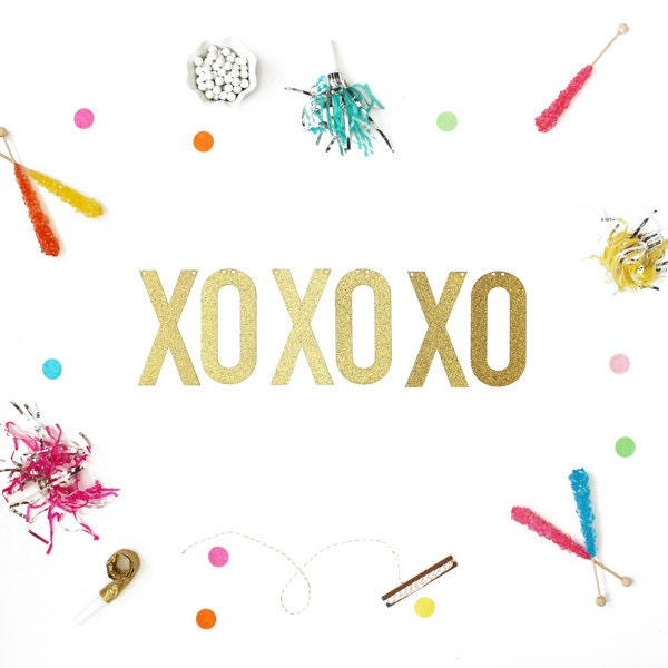 XOXOXO Banner available in Gold Glitter or Silver Glitter ...