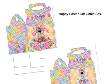 Digital Printable Hoppy Easter Gift Gable Box - Gift Box - Gable Box - Easter - Bunny