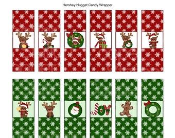 Digital Printable Holiday Hershey Nugget Candy Wrappers - Reindeer- Christmas Reindeer- Joy - Wreath - Christmas Stocking