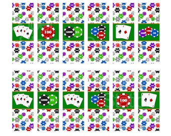 Digital Printable Hershey Nugget Candy Wrappers  Poker Party Theme