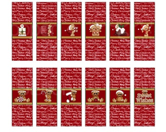 Digital Printable Holiday Hershey Nugget Candy Wrappers - Gingerbread - Christmas Bears - Christmas Stocking