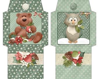 Digital Printable Tea Wrappers - Woodland Critters - Winter Tea Wrapper - Holiday Tea - Tea Bag Envelope