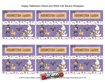Trick or Treat Lifesavers Candy wrapper Digital Printable Halloween Lifesavers Candy Wrapper