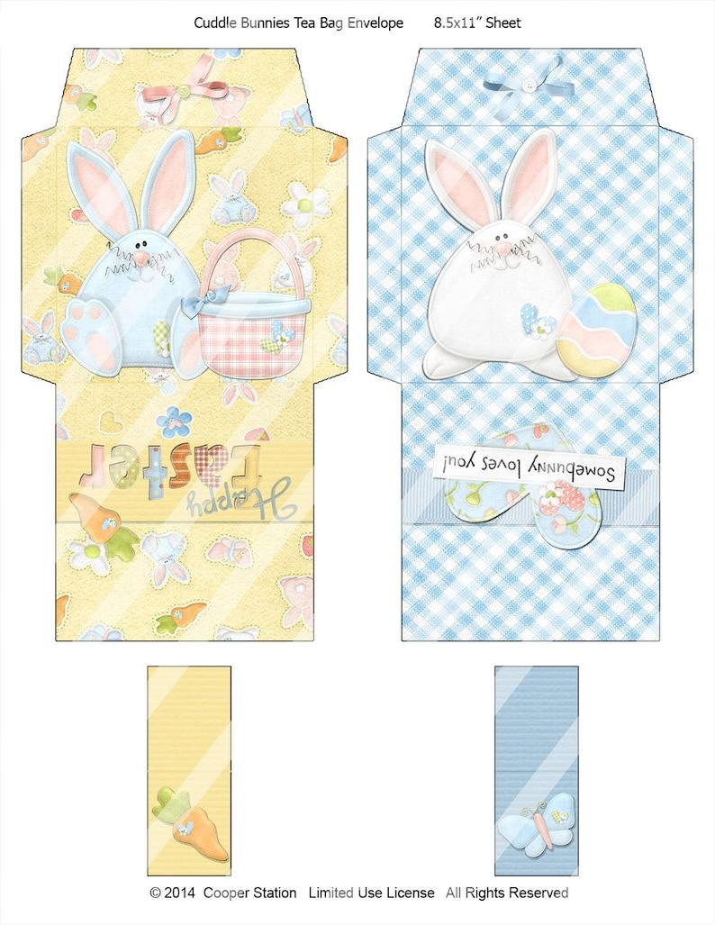 d36b088c7 Digitales para imprimir Pascua conejito bolsa de té sobres | Etsy