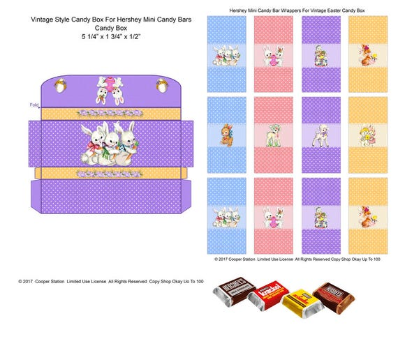 Digital Printable Vintage Style Easter Candy Box And Wrappers For Hershey Mini Candy Bars