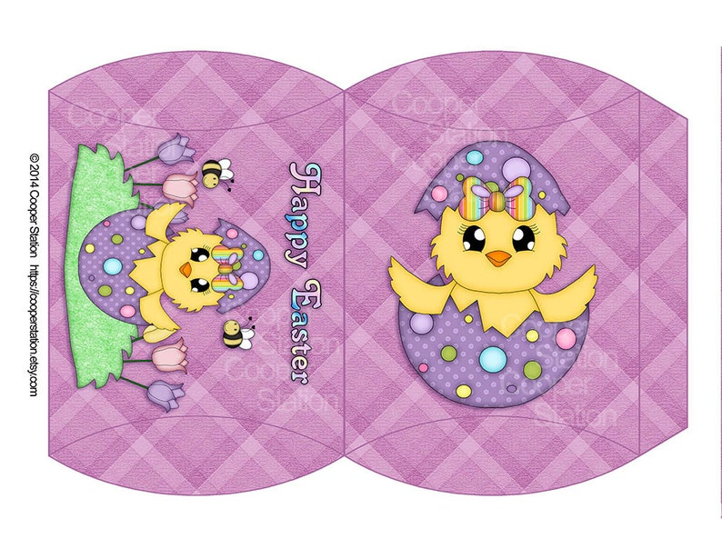 Digital Printable Easter Chick Pillow Box image 0