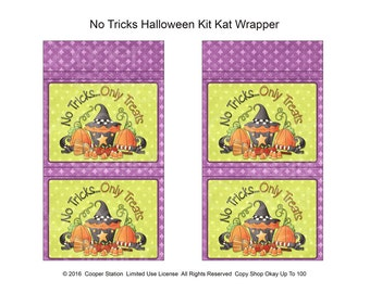 Digital Printable Halloween Kit Kat Chocolate Bar Wrapper - Candy Bar Wrapper - Trick or Treat - Party Favor