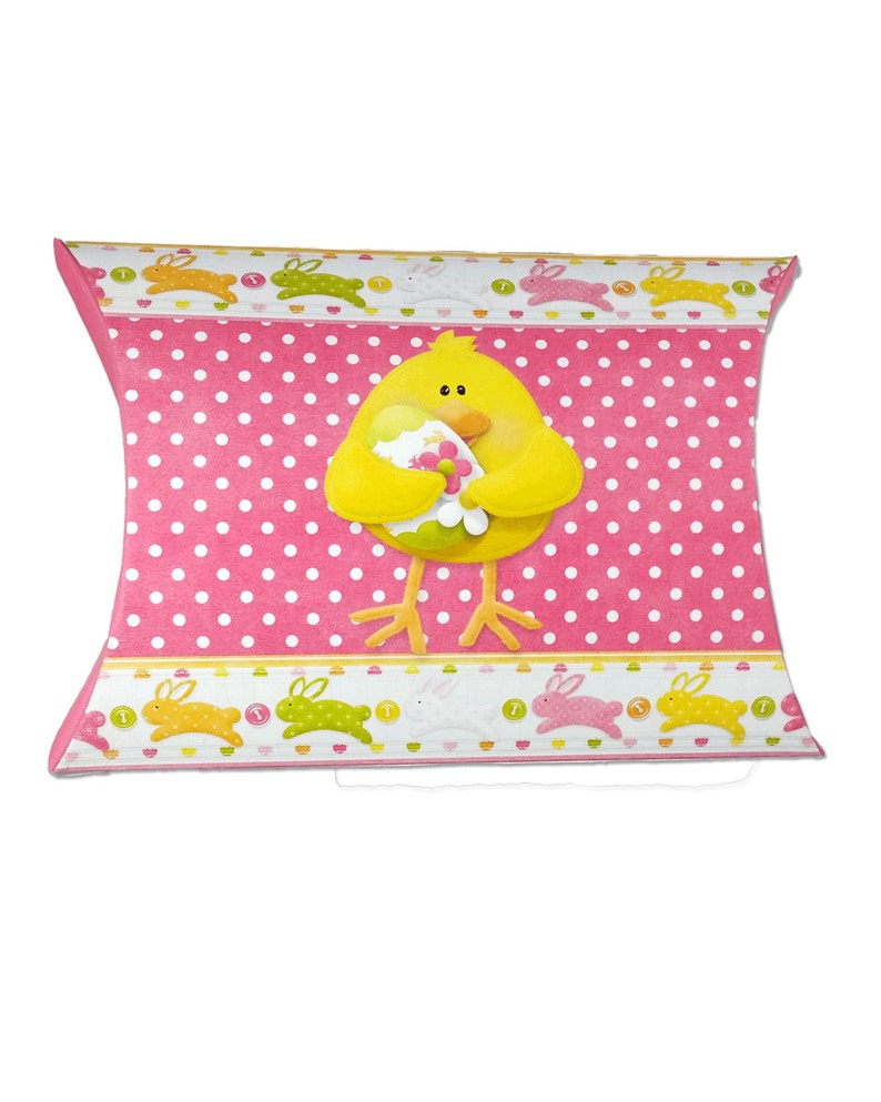 Digital Printable Easter Chick And Butterfly Pillow Box  image 0